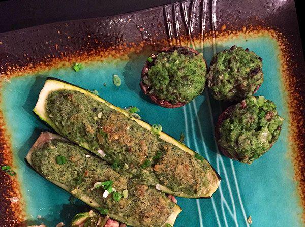 Pesto Stuffed Mushrooms & Zucchini | Recipe | Stuffed Mushrooms, Pesto ...