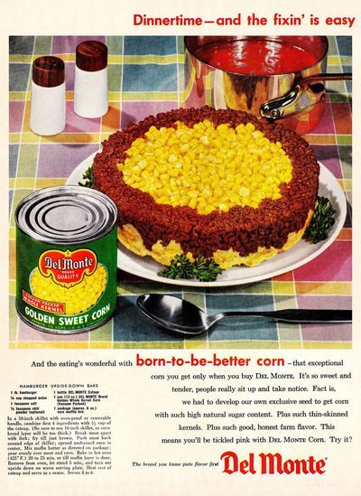Retro Recipe: Hamburger Upside-Down Bake - Here's a twist on shepherd's pie. Instead of mashed potato, this 1956 recipe uses corn bread. (Del Monte had a 14-ounce bottle of catsup in 1956)