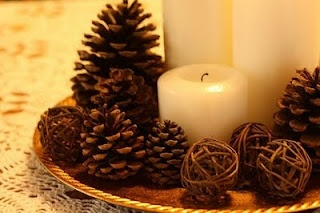 Beautiful Bridal: Pinecone Centerpieces -- love the candles
