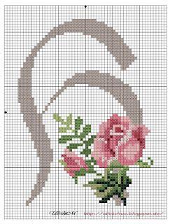 alphabet - h - rose - point de croix - cross stitch - Blog : http://broderiemimie44.canalblog.com/