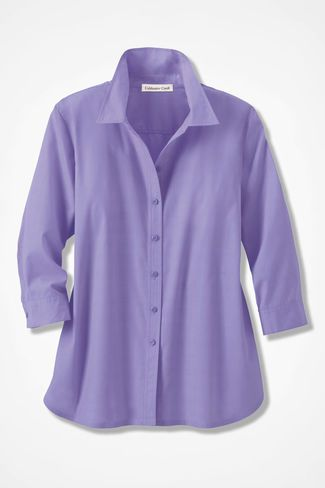 Three Quarter Sleeve Easy Care Shirt Lavender Tops In 2018