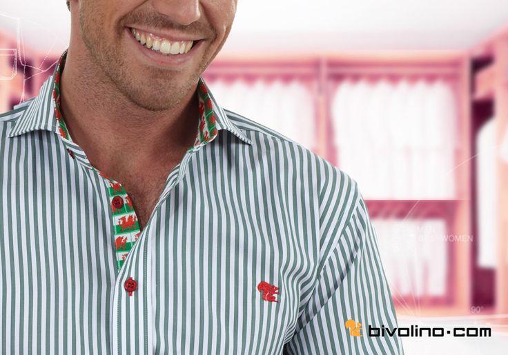 Chemise sur mesure homme - Collection Bivolino Fashion. création de chemise à la carte avec son drapeau écossais régional. Tissus à fines rayures en provenance des meilleurs tisseurs italiens. Chemise sur mesure de qualité depuis 1954.
