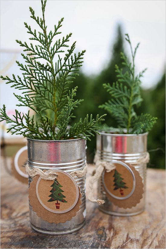 tin can tree favors   tree sapling favor   diy wedding favor   holiday ideas   #weddingchicks
