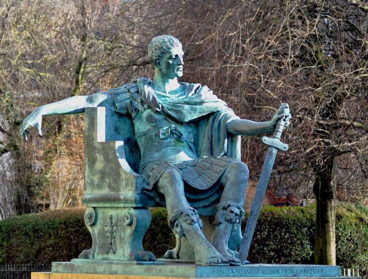 Bronze statue of Constantine the Great outside of York Minster