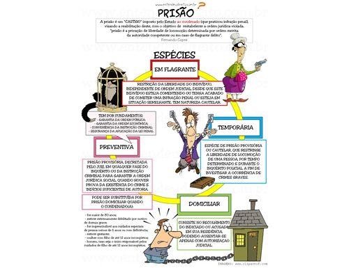 Espécies de prisão no Brasil:prisão temporária, prisão preventiva, prisão em flagrante, prisão civil e prisão para efeitos de extradição.
