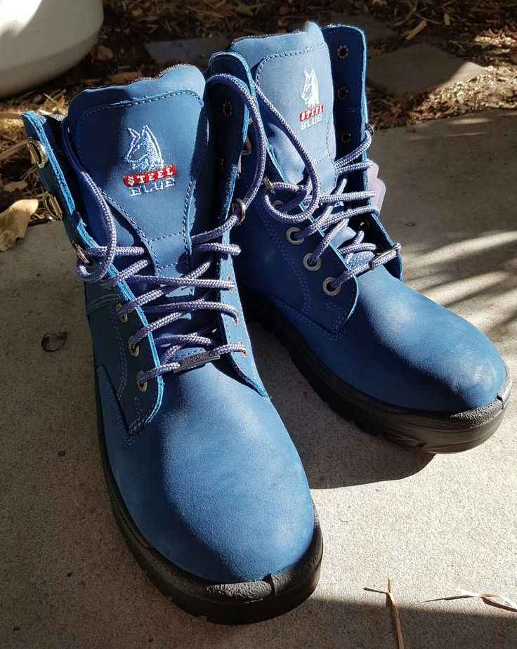 My steel blue boots are now a year old, this pic was when they were brand new, and they are as tough as nails and so comfy.