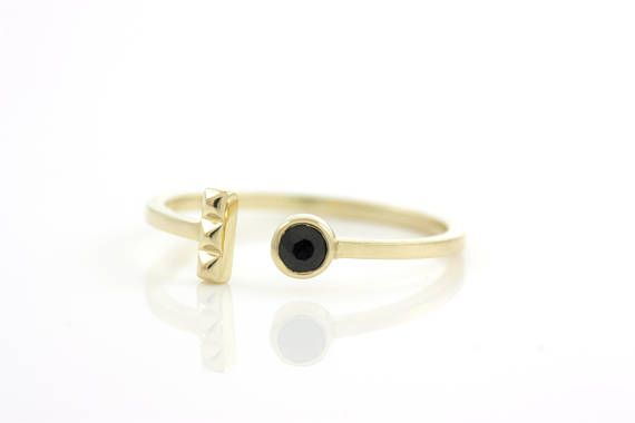 Black Diamond Ring Simple Gold Ring Minimalist Ring