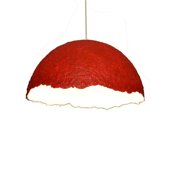 "Paper mache lamp. Modern pendant lamp. Red lighting fixture. Asymmetrical lamp. Dining room lamp. Ceiling lighting. Ceiling lamp. (48cm-19"") by LightmeUpDesign on Etsy"