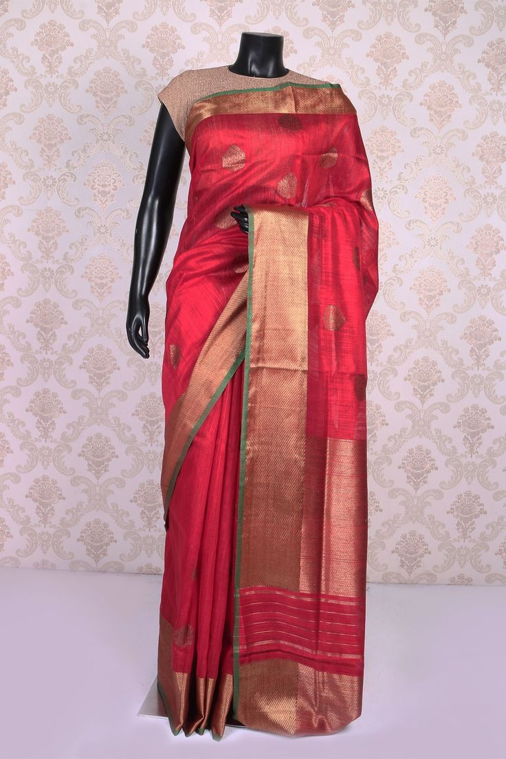 #Red dual tone with antique #gold banarasi silk #charming saree with zari weaved pallu -SR10974