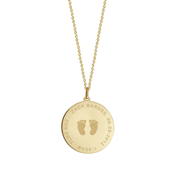 1 inch, 14k Gold Baby Footprint Disc Charm Necklace (Personalized)
