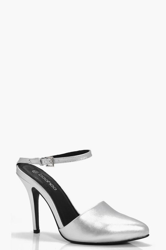 Harriet Spitze, geschlossene Sandalen mit Fesselriemchen und Pfennigabsatz