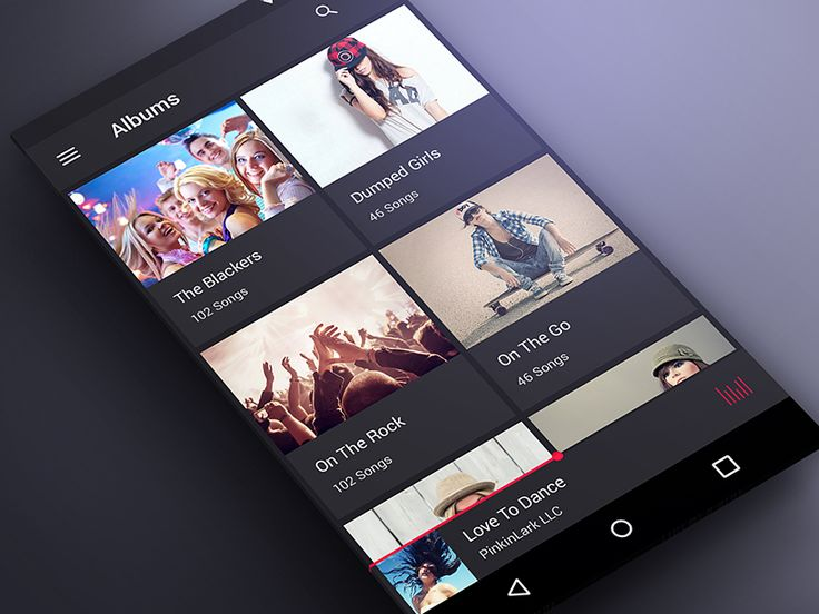 Music App Screen in Material Design