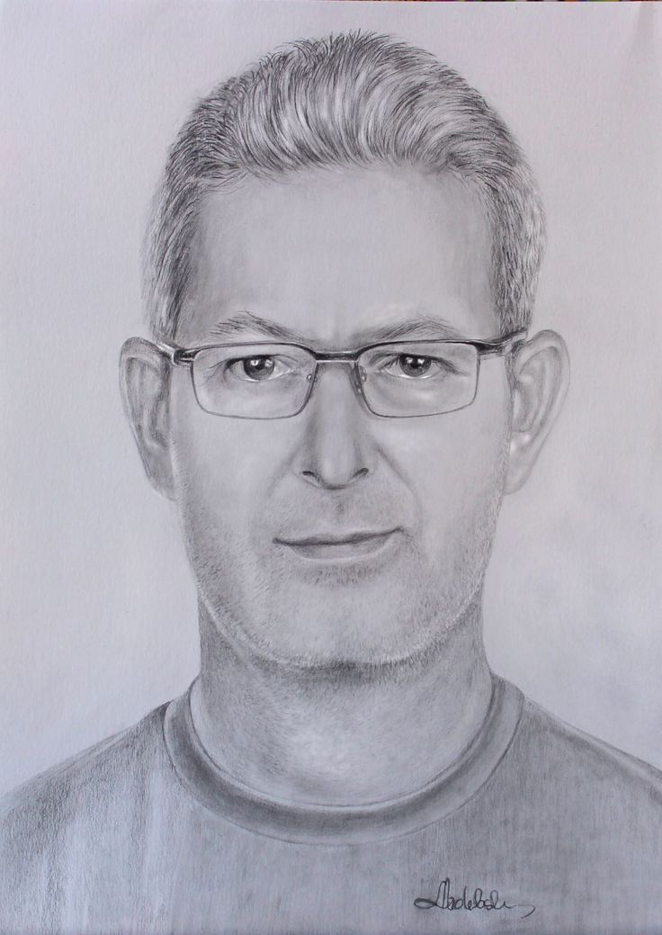 Drawing pencil portrait of Rene, author: Lucyna Izdebska