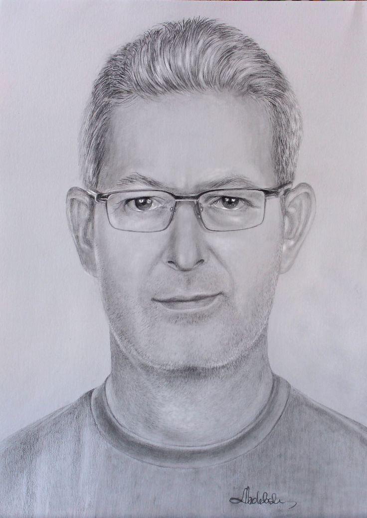 Drawing pencil portrait of Rene, author: Lucyna Izdebska