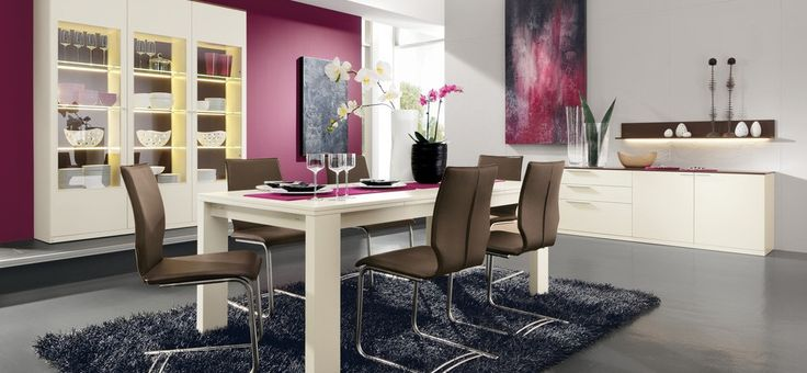 dining room, Dining Room Design Ideas Modern Pink Dining Room White And Purple Flower In Vases Brown Dining Chairs Large Chest Of Drawer White Dining Table Purple Wall Wine Glass Dining Room Furniture Sets White Wall: Breathtaking Modern Dining Room Ideas with Colorful Seating Set