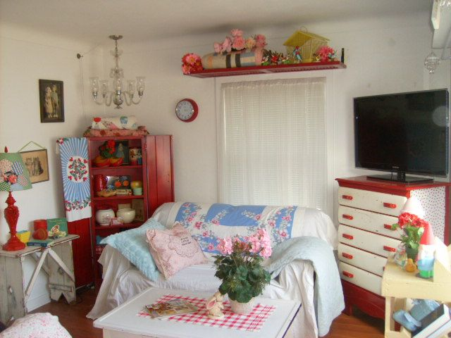 Redo Of The Living Room March 2013 Red Farm House Style Vintage Cottage  Red, Pink
