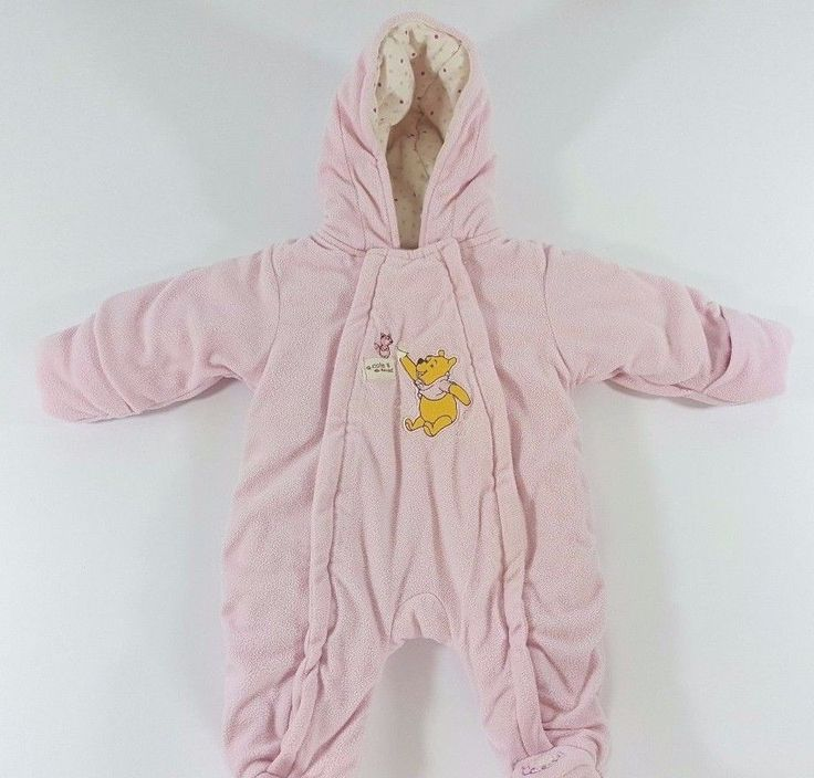 Disney Baby 0-3 Months Pink Infant Girl Winnie the Pooh Zip Up Snow Suit Coat #Disney #Snowsuit #Everyday
