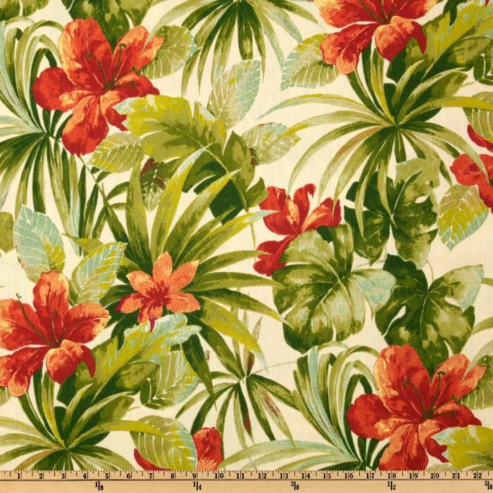 Bryant Indoor/Outdoor Exotica Parchment Colors include teal, shades of green, red and ivory on a tan background.