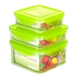 Kinetic Go Green Premium Series 39109 6-Piece Clear Green Sandwich Set, 16/20/43-Ounce by Kenetic. $17.39. Fda approved nanosilver technology. Includes one square 16 ounce, one square 20 ounce and one square 43 ounce container with green airtight lids. Top rack dishwasher safe. The set is BPA Free and made up of 3 clear bodies + 3 green lids. 90 day limited warranty. This three picece sandwich set is BPA free plastic with FDA approved nanosilver particulates t...