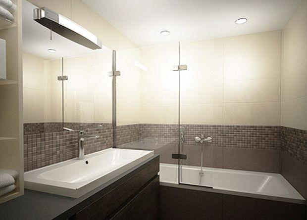 Tmavá farebná schéma kúpeľne, správnym rozdelením opticky otvára priestor… Viac náhľadov tejto vizualizácie na: Kupelnovy-manual.sk