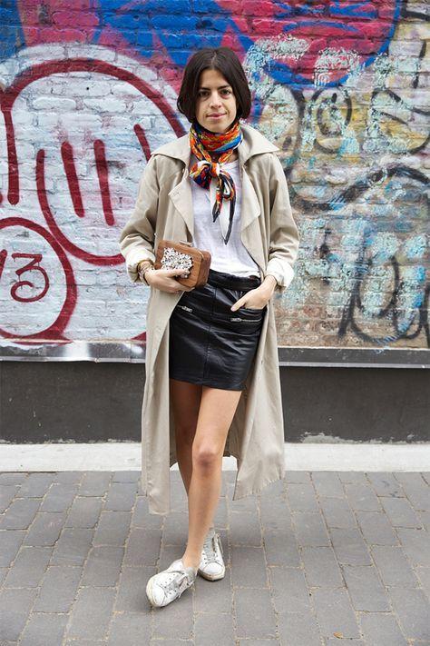 Maxi casaco com saia curta de couro