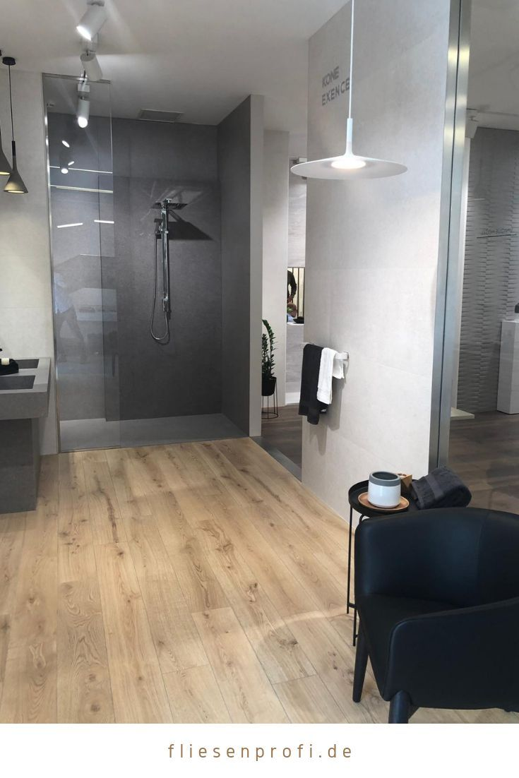 Bathroom Wood Effect Tiles In Combination With Concrete Look