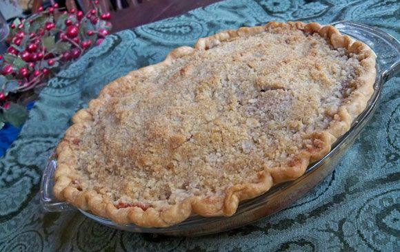 Apple Crumb Pie - simple apple pie recipe with apples in a crust topped with brown sugar crumble.