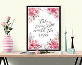 Watercolour floral poster in pink roses: 2 background options PLUS free Birthday card - digital download