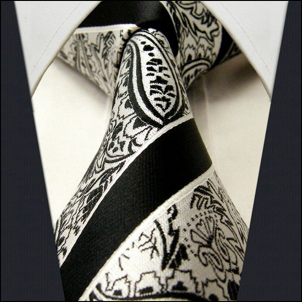 Black & White Strip / Floral - Neckties Only Collection - NTO-U56