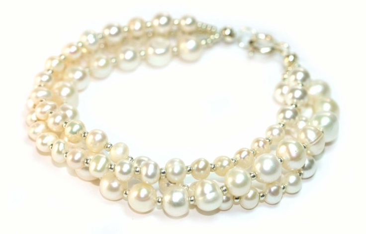 Handmade 3 strand fresh water pearl and sterling silver bracelet for brides wedding or formals.  Redki - Jewellery, Jewelry.   http://www.redki.com.au/