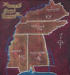 southeast central states chalkboard drawing.  Also many other drawings