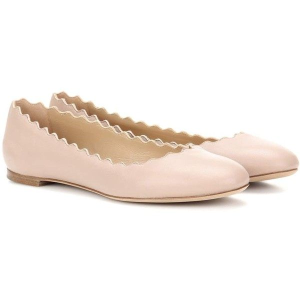 Chloé Lauren Leather Ballerinas (£470) ❤ liked on Polyvore featuring shoes, flats, ballet flats, pink, pink ballet shoes, ballerina pumps, pink flat shoes, chloe flats and leather ballerina flats