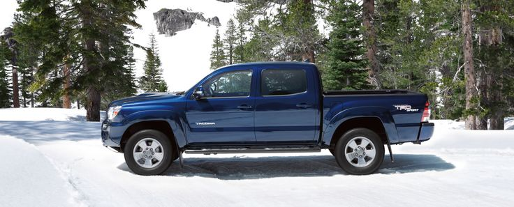 4x4 Double Cab shown in Blue Ribbon Metallic with available TRD Sport Package, V6 Tow Package and accessory black tube steps and front skid plate