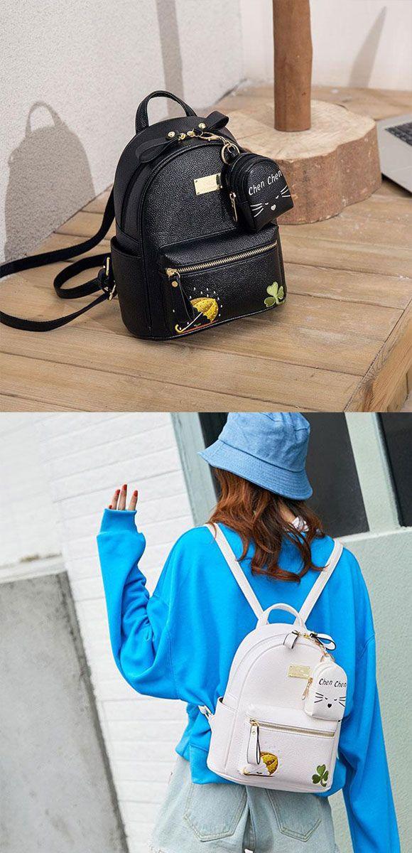 a94571994a30 Cute Mini Embroidery Clover Umbrella Cartoon Soft PU Student Small ...