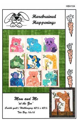 HBH104 - Mom and Me at the Zoo Wall hanging and tote bag pattern on Etsy, $12.10