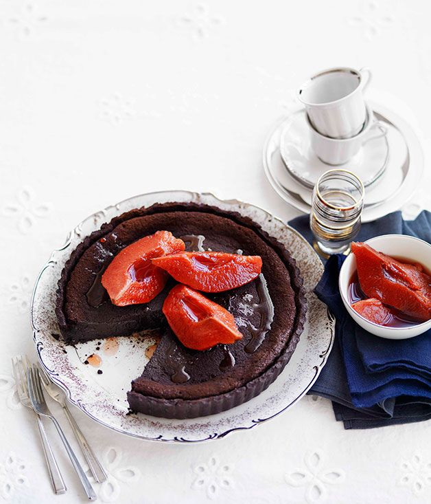 Australian Gourmet Traveller French dessert recipe for chocolate and quince tart.
