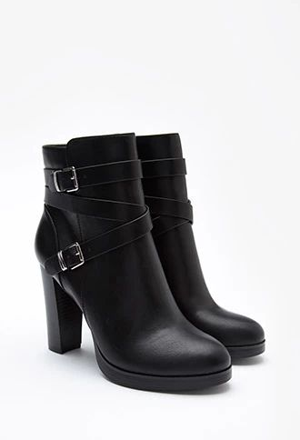 Buckled Faux Leather Booties | Forever 21 #stepitup