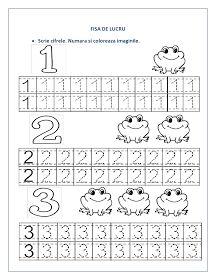 Aceste modele de fise pot fi folosite ca o consolidare a cifrelor invatate. Fiecare fisa cuprinde cate trei cifre de scris si imagini reprez...