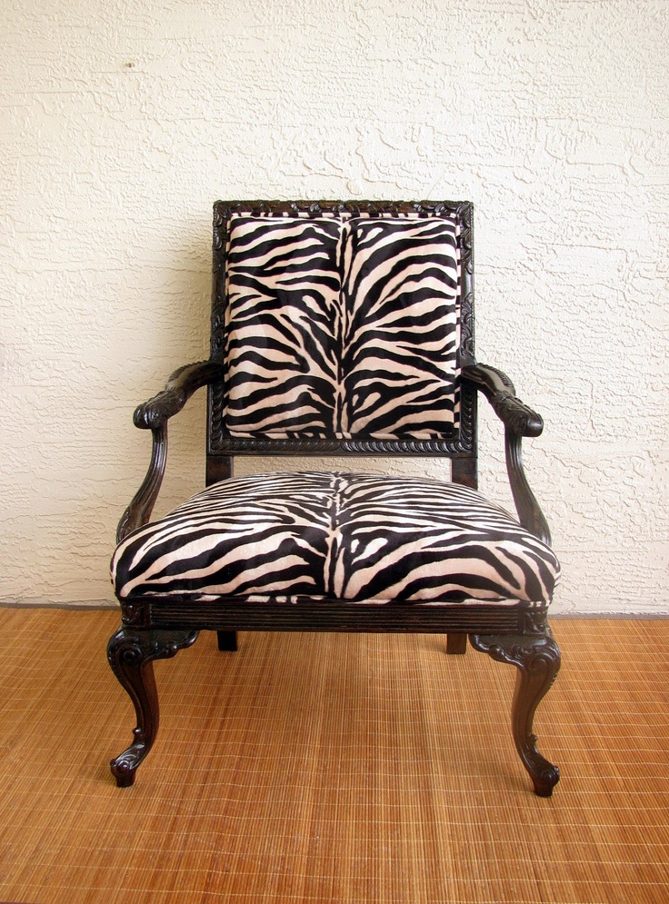 French Inspired Vintage Chair Upholstered In Zebra Print Fabric