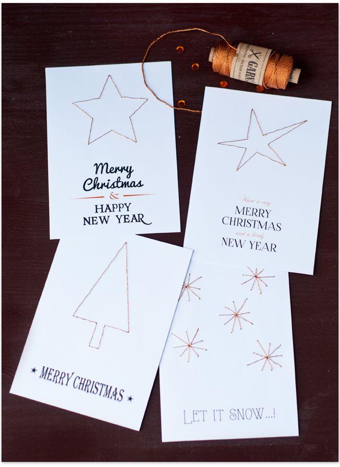 Selbstgemachte Weihnachtskarten mit gestickten Motiven   DIY Christmas Cards