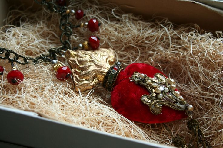 Bright gold leafing and Crimson antique velvet cover this RELICS & ARTIFACTS Flaming Heart Ex Voto II