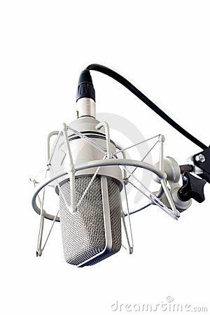 Stock Photo: Television broadcast microphone. Isolated over white.