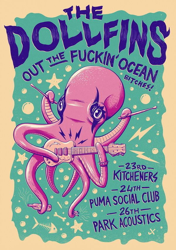 The Dollfins - Out The Fuckin' Ocean Tour by Ian Jepson, via Behance