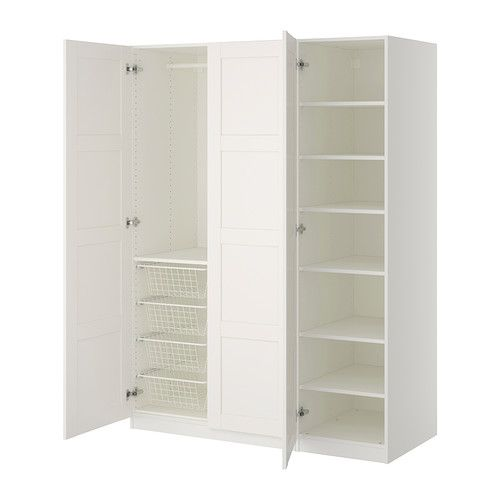 These are the Pax wardrobes in white from Ikea.  I think that the solid doors would be better than the glass, but with the square panelling.