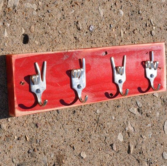 Peace x Love x Rock On x Fork U Keys Rack by jjevensen on Etsy, $50.00