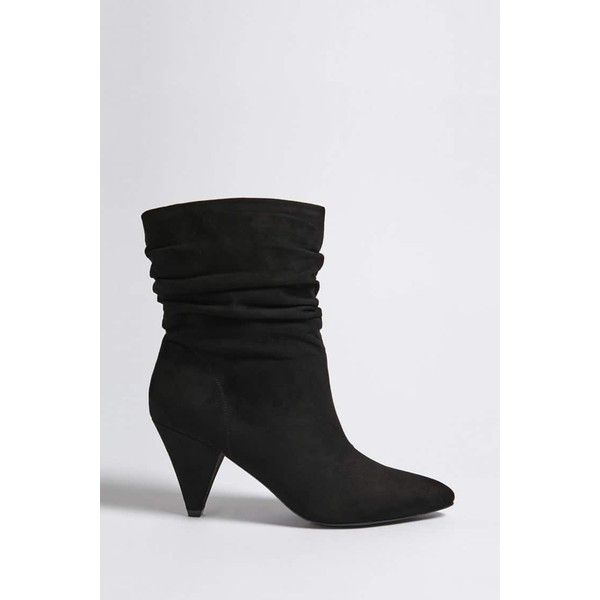 Forever21 Ruched Faux Suede Ankle Boots ($35) ❤ liked on Polyvore featuring shoes, boots, ankle booties, ankle boots, black, chunky heel booties, high heel bootie, pointed toe ankle boots, black chunky heel booties and black high heel booties