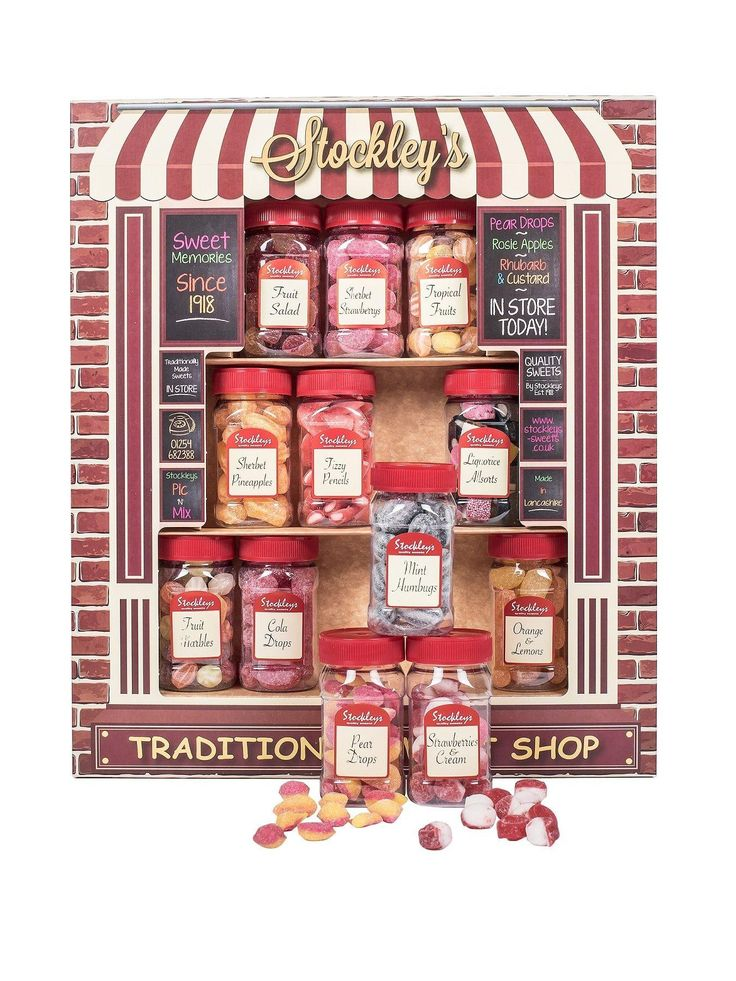Stockleys STOCKLEYS TRADITIONAL SWEET SHOP Thanks to the Stockley's Traditional Sweet Shop selection you don't need to head off to the newsagent every time you fancy a bag of old school sweets.  This smart presentation box containing 12 jars of traditional sweets is great for dishing out to kids as a treat or reward and also makes an unusual and interesting gift.With jars of Sherbet Lemons, Dolly Mixture, Jelly Beans, Strawberry and Cream, Pear Drops, Mint Imperials, Fruit Marbles...