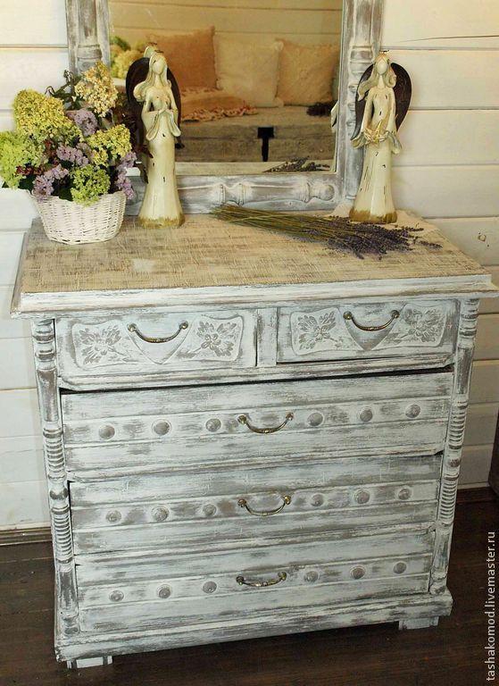 """Купить Комод """"Ароматы Прованса"""" (реставрация) - серый, комод, реставрация мебели, оформление мебели"""