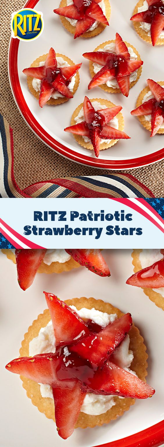 Team salty and team sweet join together to satisfy taste buds in this deliciously fun recipe for RITZ Patriotic Strawberry Stars. Creamy ricotta cheese, luscious grape jelly, and juicy strawberry slices are layered atop a rich RITZ Cracker. Easy to make and even easier to eat. 10 mins makes 24 servings!