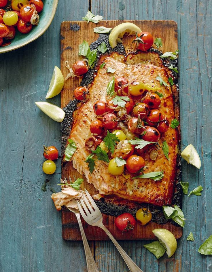Cedar Plank Salmon with Blistered Tomatoes - What's Gaby Cooking